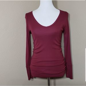 Michael Stars V-Neck Tee Burgundy Red OS